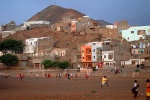 Capo Verde, Sao Vincente's coloful capital Mindelo. Upper neighborhoods. The main square is replaced by the football natural field. © Maro Kouri