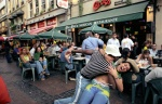 Luxembourg, Luxembourg City. Latin immigrants of the city having a party. Place d'Armes. Chi Chi Restaurant plays samba