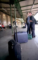 Luxembourg, Good-buy love kisses at the train station © Maro Kouri