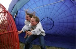 Luxembourg, Les Ardennes province. The most peaceful trip is to fly in a balloon and the kids know that.