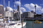 New Zealand. Auckland: City of Sails. A water taxi and the 328m NZ highest structure Skytower, part of Harrar's complex (restaurants, bars, casino).