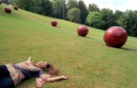 Luxembourg. ''Balls'' artwork by Ilona Nemeth, Petrusse Valley. Poland Kasia Malinnowska with her sister Mata make an interail stop-European tour by train, especially cheap for young people. © Maro Kouri