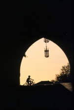 Dodecanese, Rhodes The entrance to the large castle, boy on a bicycle