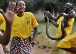 Villagers dancing with snake in Mangu village of Mwanza region.  Mwanza, Tanzania, Africa  © Maro Kouri
