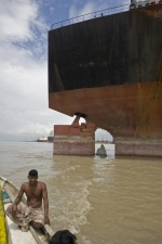Bangladesh shipbreakers have illegally beached 16 toxic ships for scrapping on the Chittagong coast last month according to the NGO Shipbreaking Platform, a global coalition of environmental, human and labour rights non-governmental organisations working for safe and clean ship recycling. «It is a clear violation of the 2009 High Court order that stated that no ship could be beached without an environmental clearance certificate that guarantees that they are free of all in-built toxic materials» explains Rizwana Hasan, Goldman Prize winner and Exectutive Director of Platform member, Bangladesh Environmental Lawyers Asssoication (BELA).  Shifts start at seven in the morning and go through till eleven at night with two hours in breaks. The work is done on or around the beach by unskilled laborers who travel from the poorest parts to work for a pittance, largely without any representation. No latrines or showers exist, and disease is rife. The sites see asbestos thrown freely about, the dust filling the air, the toxic smoke from metal cutting drifts amongst the workers. Heavy metals run freely into the sand along with the waste lubricants to wash out to sea.  The Geneva based International Metalworkers Federation, who published an extensive survey in 2007 on working practices in the region, estimates that in Bangladesh a worker dies in the breaking yards every three weeks on average. Although there are safer and cleaner methods for recycling ships, cashbuyers  continue to sell their vessels to the poorest countries of South Asia to gain maximum profit.    © Maro Kouri